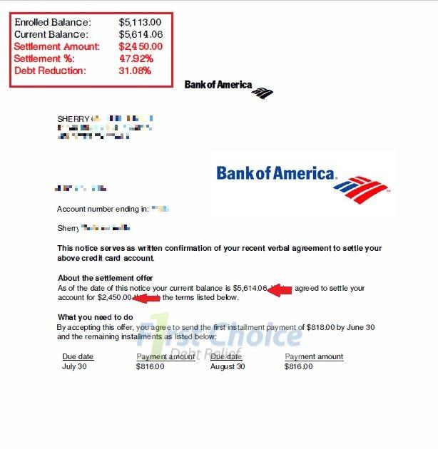 Debt settlement letters bofa spiritdancerdesigns Gallery