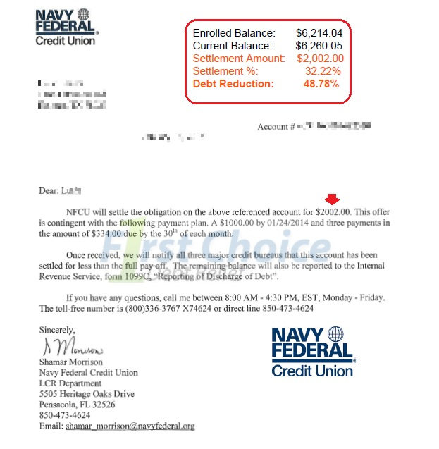 Debt settlement letters navy fcu spiritdancerdesigns Image collections