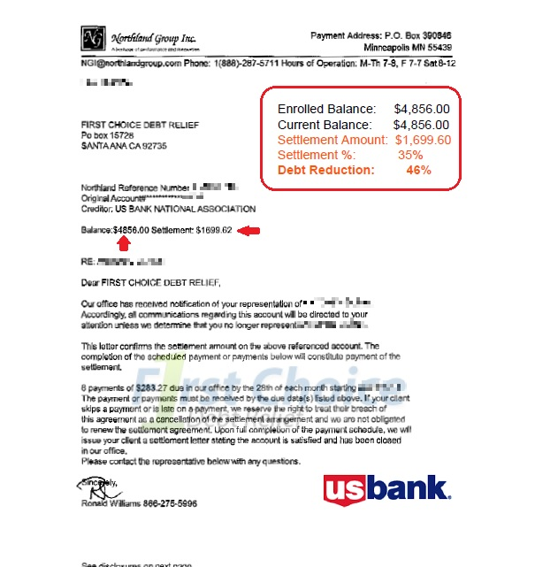 Debt settlement letters us bank spiritdancerdesigns Choice Image